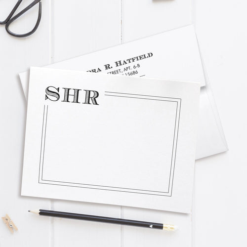 Modern monogram note cards 'Squared Lines' -  - Dazzling Daisies