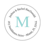 Monogram address labels 'Simply Classic' - Aquamarine - Dazzling Daisies