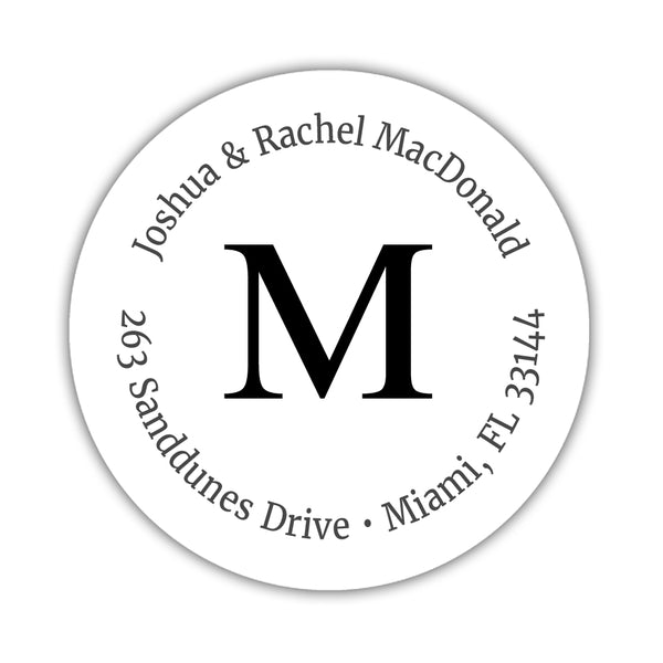 Monogram address labels 'Simply Classic' - Black - Dazzling Daisies