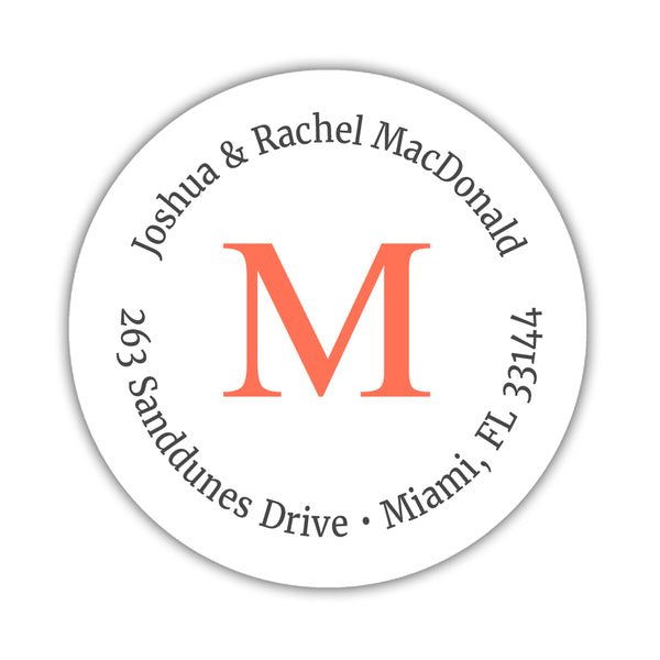 Monogram address labels 'Simply Classic' - Coral - Dazzling Daisies