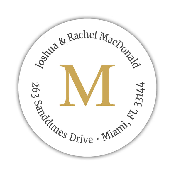 Monogram address labels 'Simply Classic' - Gold - Dazzling Daisies