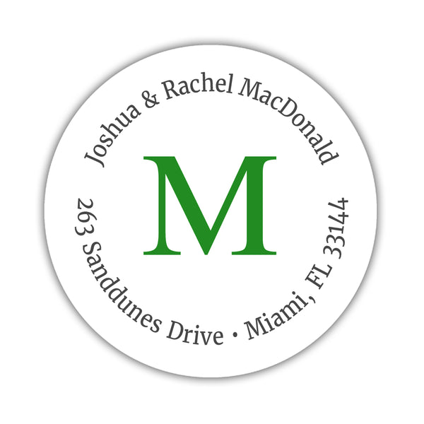 Monogram address labels 'Simply Classic' - Green - Dazzling Daisies