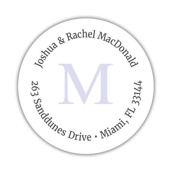 Monogram address labels 'Simply Classic' - Lavender - Dazzling Daisies