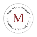 Monogram address labels 'Simply Classic' - Maroon - Dazzling Daisies