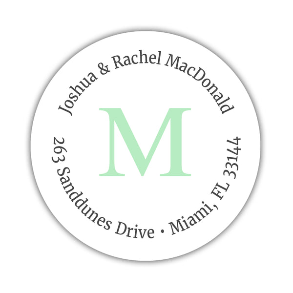 Monogram address labels 'Simply Classic' - Mint - Dazzling Daisies