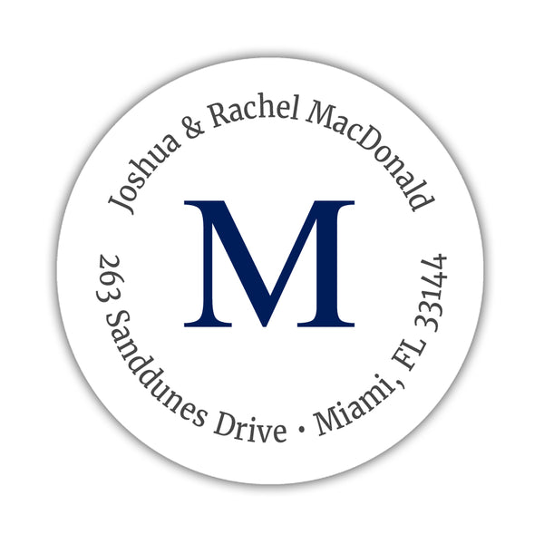 Monogram address labels 'Simply Classic' - Navy - Dazzling Daisies