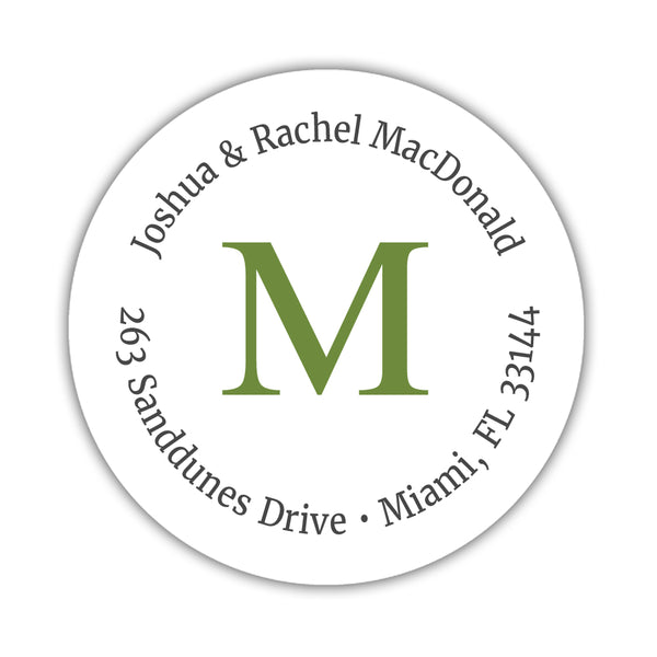Monogram address labels 'Simply Classic' - Olive - Dazzling Daisies