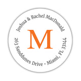 Monogram address labels 'Simply Classic' - Orange - Dazzling Daisies
