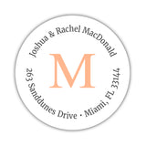 Monogram address labels 'Simply Classic' - Peach - Dazzling Daisies