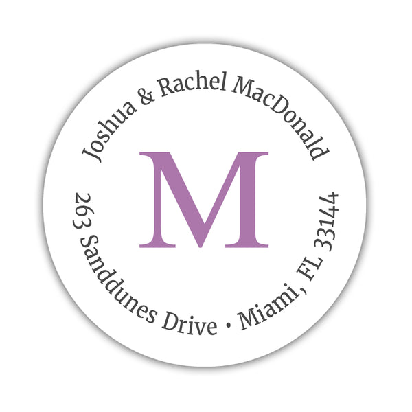 Monogram address labels 'Simply Classic' - Plum - Dazzling Daisies
