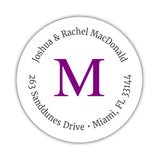 Monogram address labels 'Simply Classic' - Purple - Dazzling Daisies