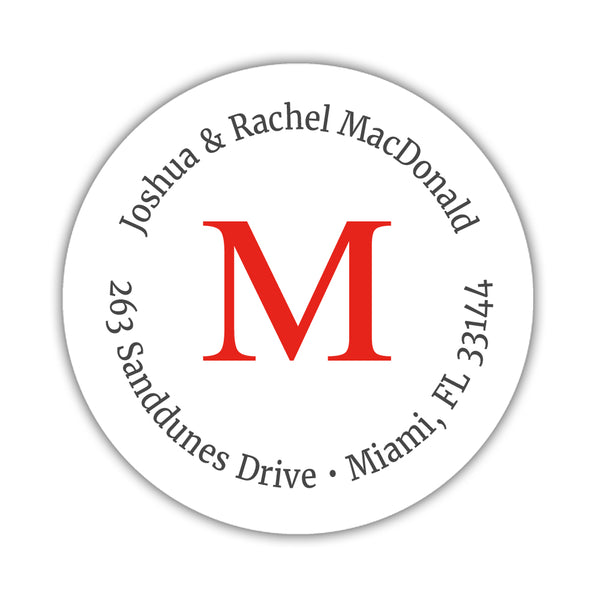Monogram address labels 'Simply Classic' - Red - Dazzling Daisies