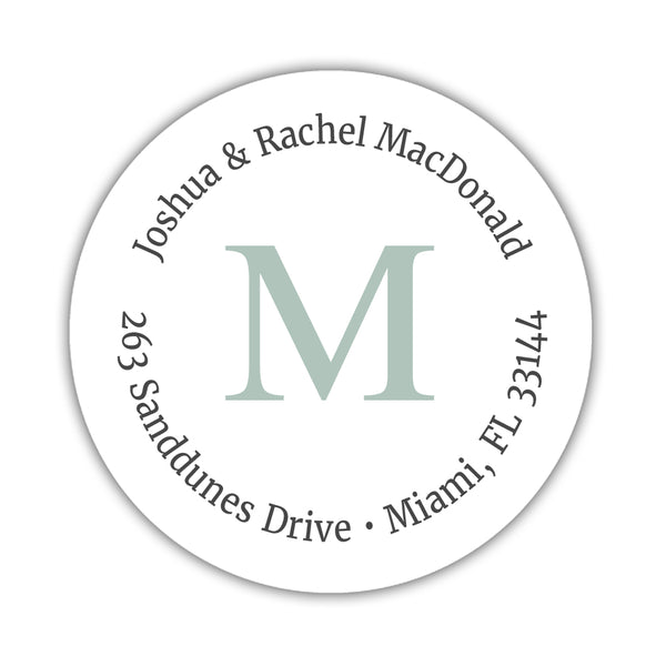 Monogram address labels 'Simply Classic' - Sage - Dazzling Daisies