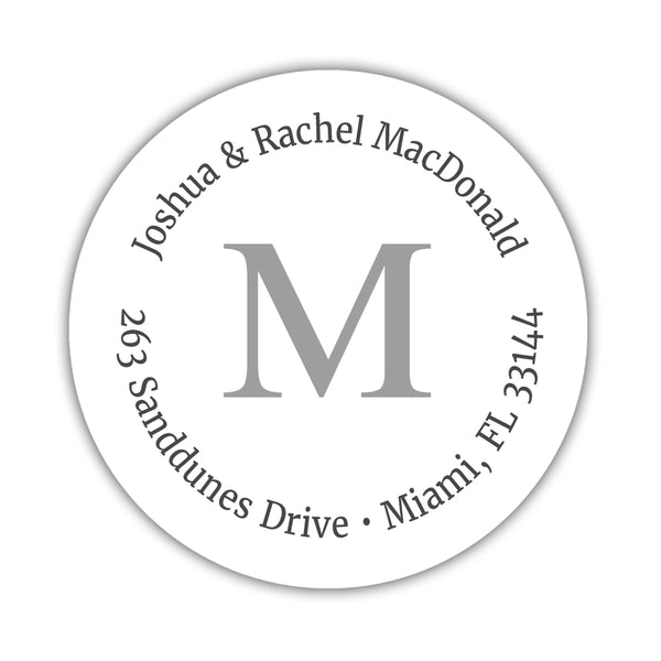 Monogram address labels 'Simply Classic' - Silver - Dazzling Daisies
