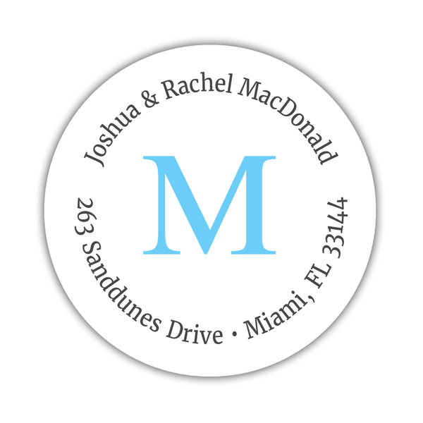 Monogram address labels 'Simply Classic' - Sky blue - Dazzling Daisies