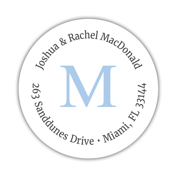 Monogram address labels 'Simply Classic' - Steel blue - Dazzling Daisies