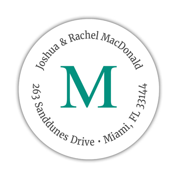 Monogram address labels 'Simply Classic' - Teal - Dazzling Daisies