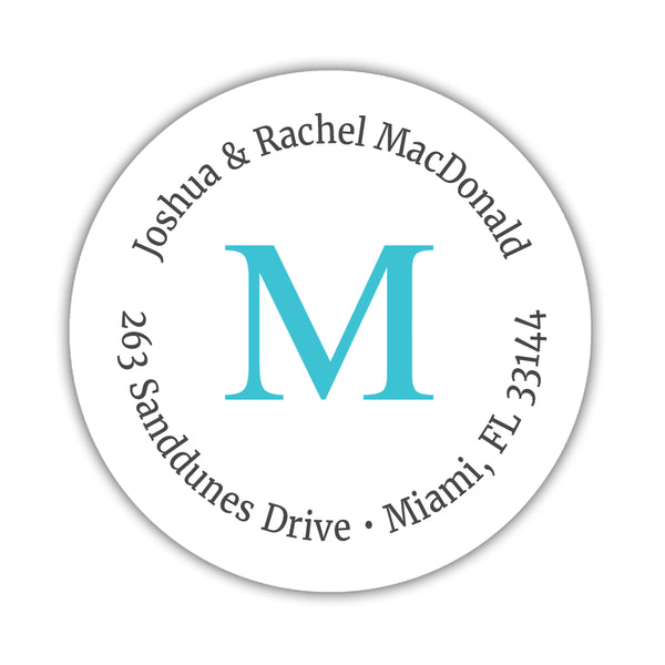 Monogram address labels 'Simply Classic' - Turquoise - Dazzling Daisies
