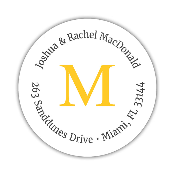 Monogram address labels 'Simply Classic' - Yellow - Dazzling Daisies