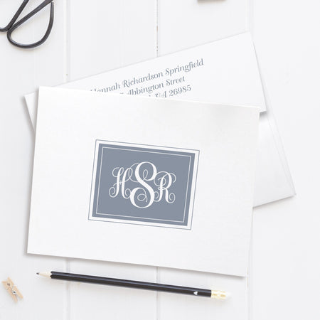 Monogram note cards 'Ornate Overload'