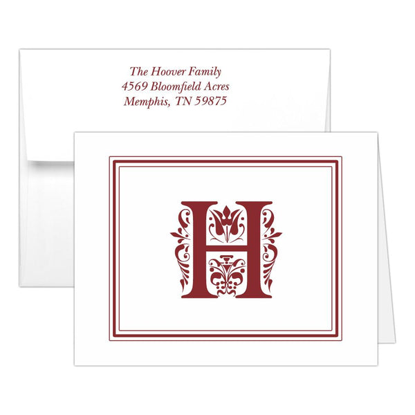 Monogram note cards 'Ornate Overload' - Maroon - Dazzling Daisies