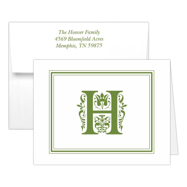 Monogram note cards 'Ornate Overload' - Olive - Dazzling Daisies