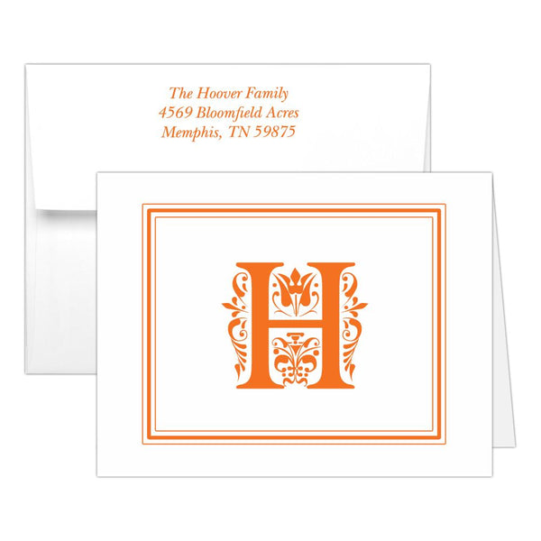 Monogram note cards 'Ornate Overload' - Orange - Dazzling Daisies