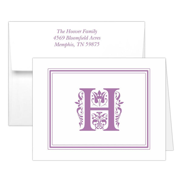 Monogram note cards 'Ornate Overload' - Plum - Dazzling Daisies