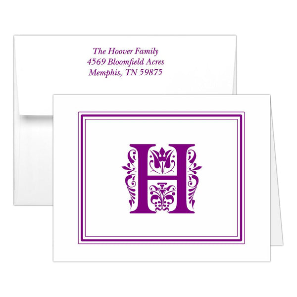 Monogram note cards 'Ornate Overload' - Purple - Dazzling Daisies
