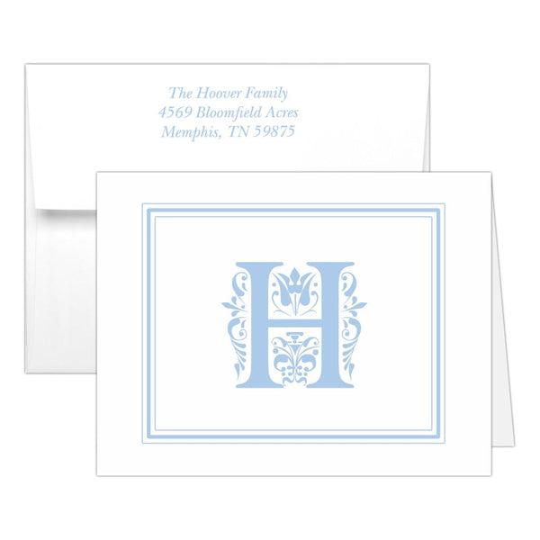 Monogram note cards 'Ornate Overload' - Steel blue - Dazzling Daisies