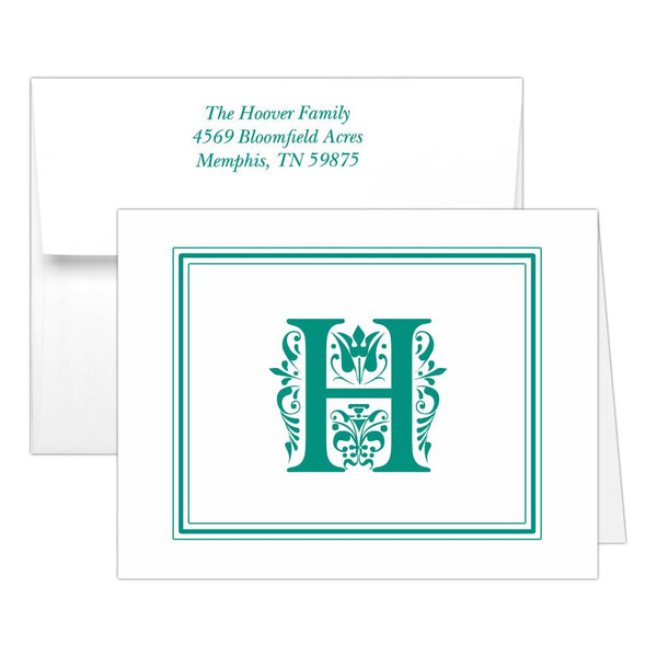 Monogram note cards 'Ornate Overload' - Teal - Dazzling Daisies