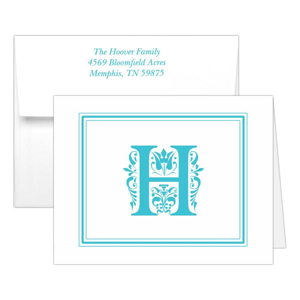 Monogram note cards 'Ornate Overload' - Turquoise - Dazzling Daisies