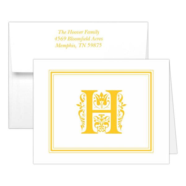 Monogram note cards 'Ornate Overload' - Yellow - Dazzling Daisies