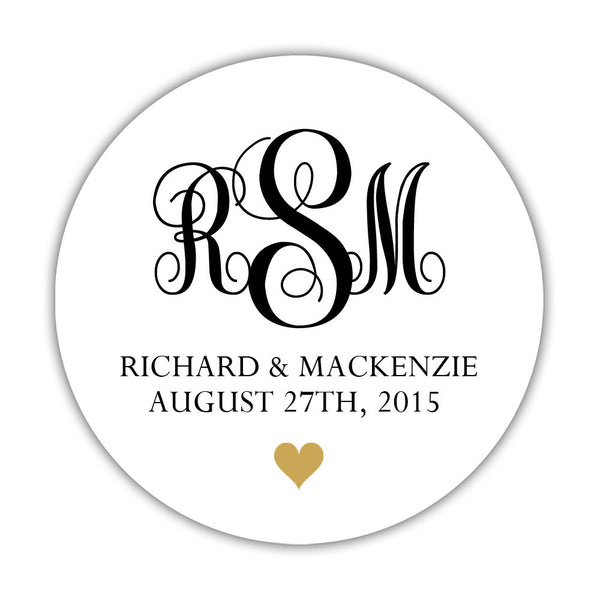 "Monogram wedding stickers - 1.5"" circle = 30 labels per sheet / Black/Gold - Dazzling Daisies"