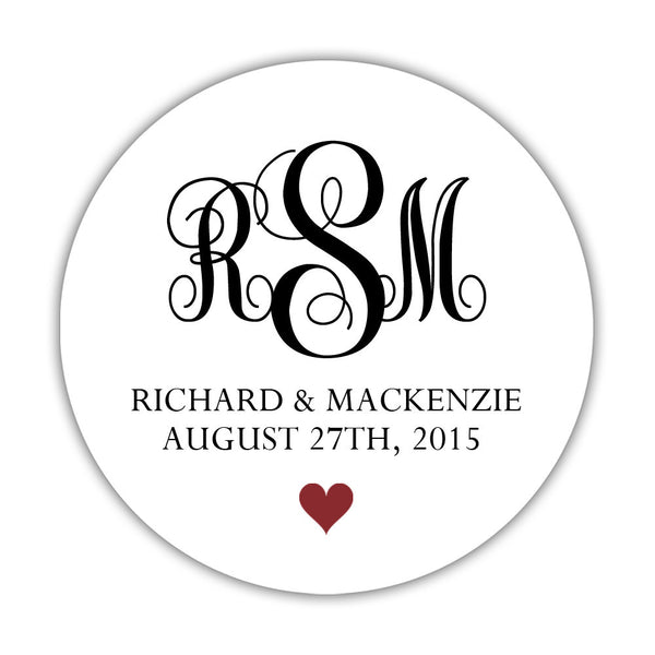 "Monogram wedding stickers - 1.5"" circle = 30 labels per sheet / Black/Maroon - Dazzling Daisies"