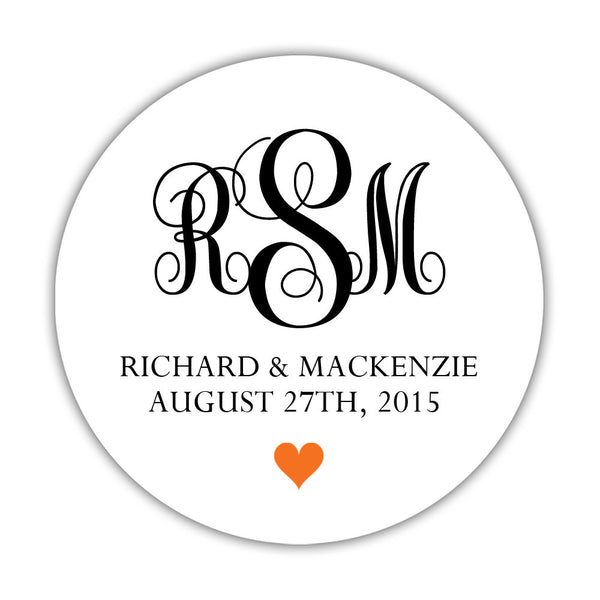 "Monogram wedding stickers - 1.5"" circle = 30 labels per sheet / Black/Orange - Dazzling Daisies"