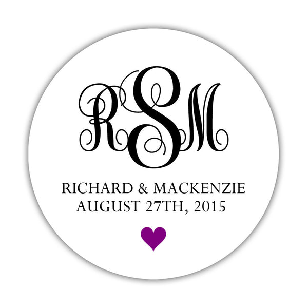 "Monogram wedding stickers - 1.5"" circle = 30 labels per sheet / Black/Purple - Dazzling Daisies"