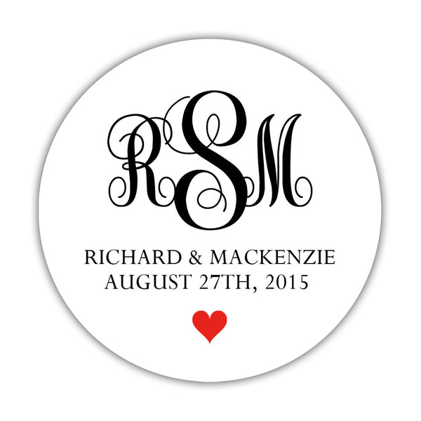 "Monogram wedding stickers - 1.5"" circle = 30 labels per sheet / Black/Red - Dazzling Daisies"