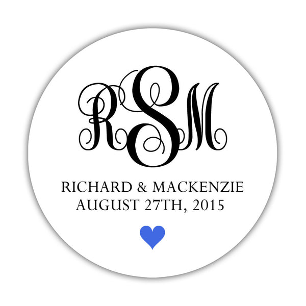 "Monogram wedding stickers - 1.5"" circle = 30 labels per sheet / Black/Royal blue - Dazzling Daisies"