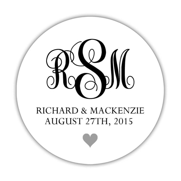 "Monogram wedding stickers - 1.5"" circle = 30 labels per sheet / Black/Silver - Dazzling Daisies"