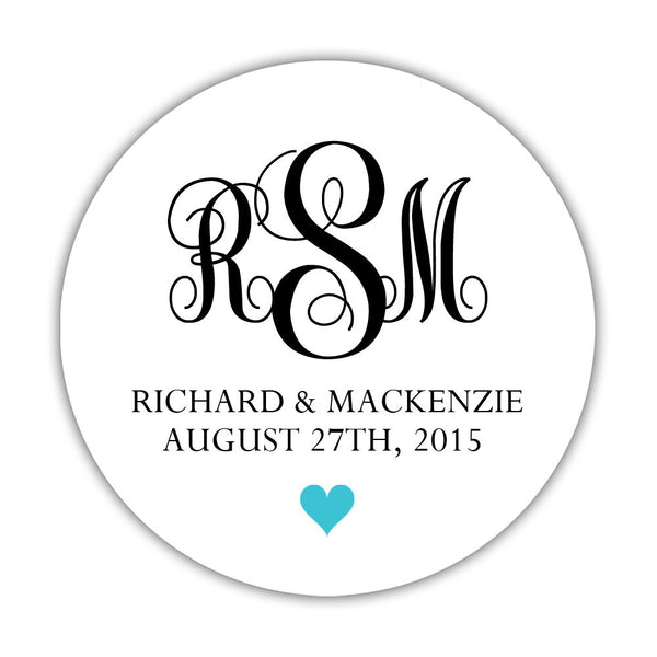 "Monogram wedding stickers - 1.5"" circle = 30 labels per sheet / Black/Turquoise - Dazzling Daisies"