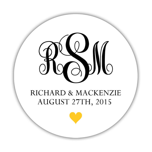 "Monogram wedding stickers - 1.5"" circle = 30 labels per sheet / Black/Yellow - Dazzling Daisies"