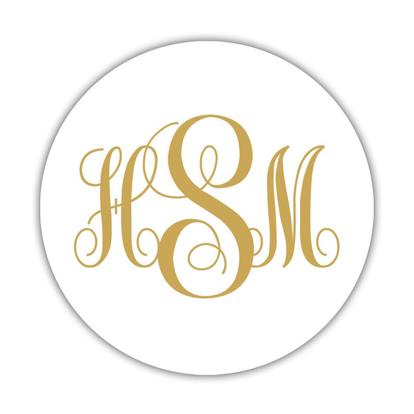 "Monogram stickers 'Ornate Elegance' - 1.5"" circle = 30 labels per sheet / Gold - Dazzling Daisies"