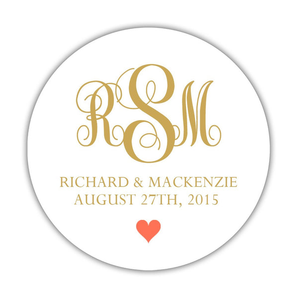 "Monogram wedding stickers - 1.5"" circle = 30 labels per sheet / Gold/Coral - Dazzling Daisies"