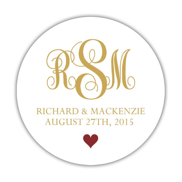 "Monogram wedding stickers - 1.5"" circle = 30 labels per sheet / Gold/Maroon - Dazzling Daisies"