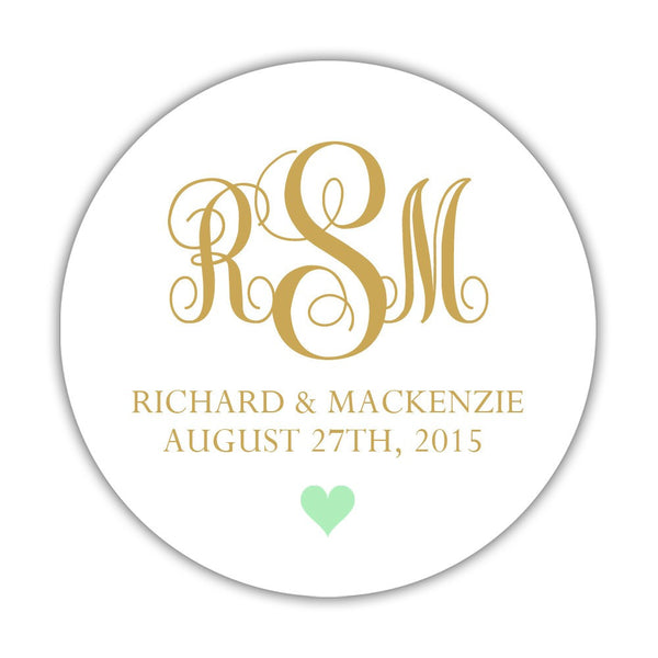 "Monogram wedding stickers - 1.5"" circle = 30 labels per sheet / Gold/Mint - Dazzling Daisies"