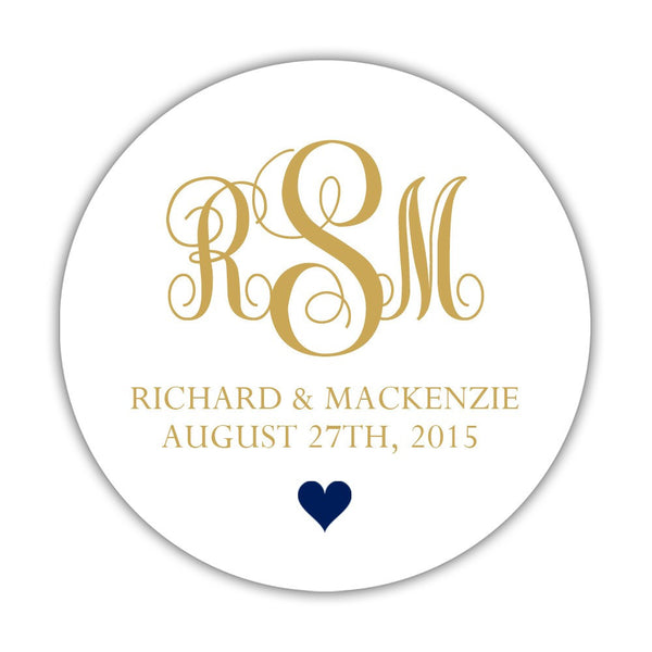 "Monogram wedding stickers - 1.5"" circle = 30 labels per sheet / Gold/Navy - Dazzling Daisies"