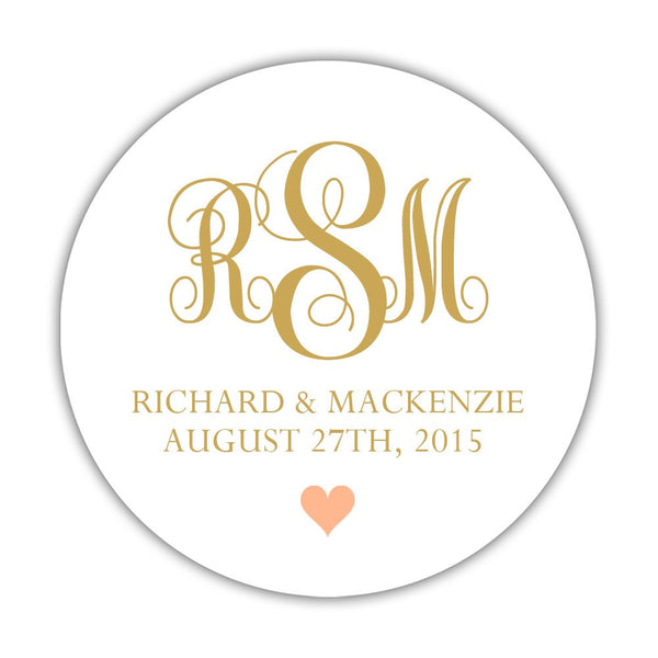 "Monogram wedding stickers - 1.5"" circle = 30 labels per sheet / Gold/Peach - Dazzling Daisies"