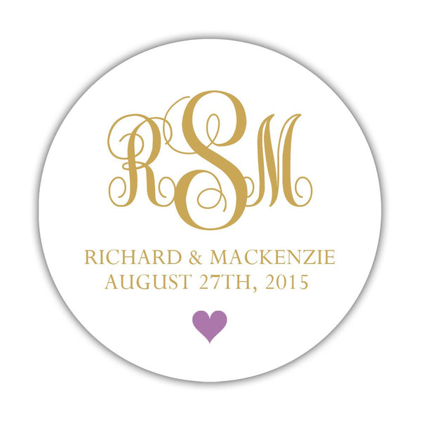 "Monogram wedding stickers - 1.5"" circle = 30 labels per sheet / Gold/Plum - Dazzling Daisies"