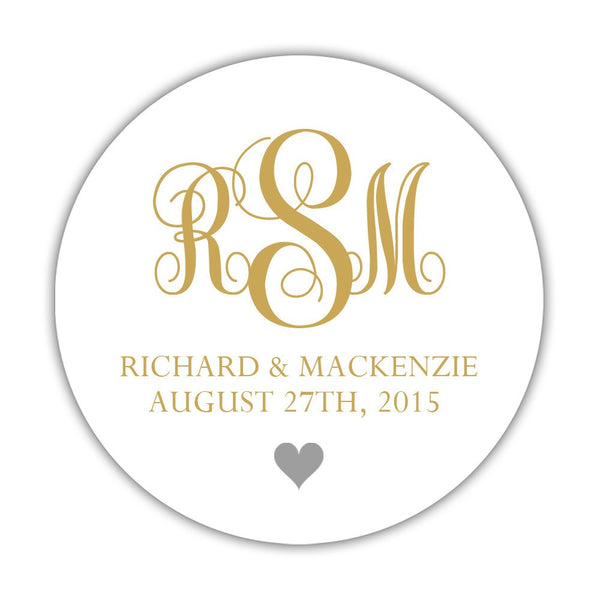 "Monogram wedding stickers - 1.5"" circle = 30 labels per sheet / Gold/Silver - Dazzling Daisies"
